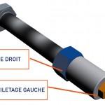 Dispositif anti-devissage à pas inversé avec taraudage CAO